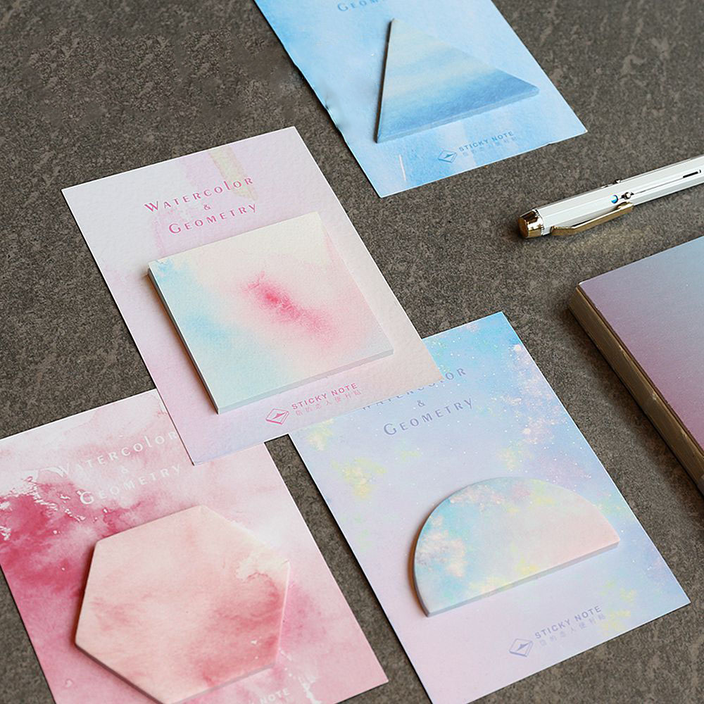 Fantastic Watercolor Geometric Self-Adhesive Memo Pad Sticky Notes School Office Supply Student Stationary
