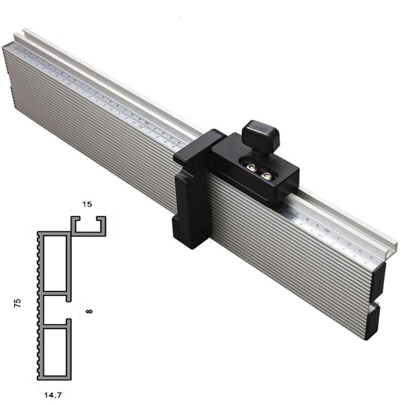 45-122cm 75mm Höhe Gehrung Track T-track Stoppen Schiebe Klammern T-Slot Aluminium Profil W/skala holzbearbeitungswerkbank DIY Werkzeug