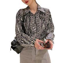 Женские блузки на весну и осень с леопардовым принтом рубашка