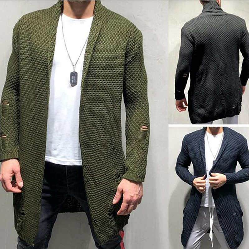 Male Cardigan Sweater Slim-Fit Long-Sleeve Korean-Style Pattern-Design Men New-Arrival title=
