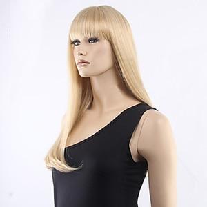 Image 2 - HAIRJOY femmes cheveux synthétiques propre frange longue droite résistant à la chaleur fibres perruques 8 couleurs disponibles