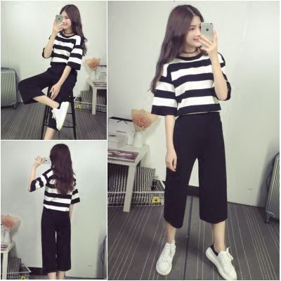 Summer WOMEN'S Dress New Style Korean-style Fashion Students Stripes Short Sleeve T-shirt Tops Loose Pants Set Two-Piece Se