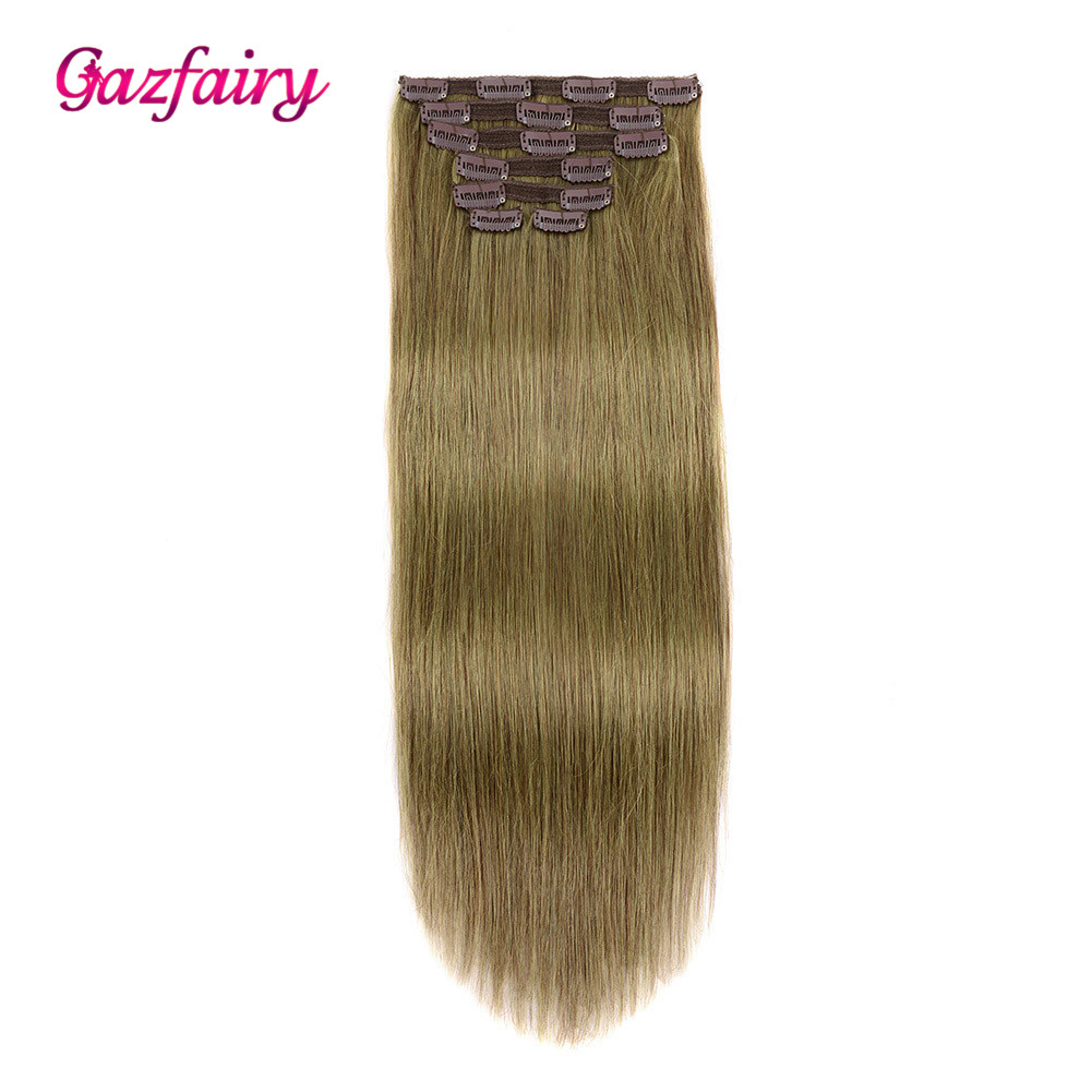 Gazfairy Real Remy Hair Clip In Human Hair Extensions Double Weft Straight Style 18-20'' 7Pcs/Set 16 Clips Full Head For Women