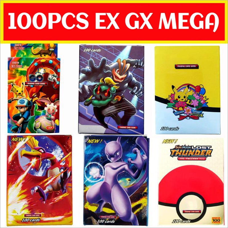 100PCS/Box Pokemon Cards EX GX Mega Flash Cards New Without Repetition Collectible Trading Card Set Child Toy Gift