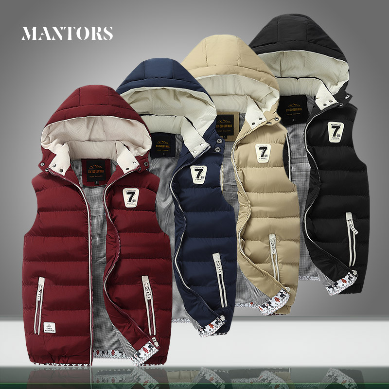 Winter Mens Sleeveless Jackets New Casual Down Vest Men's Warm Thick Solid Hooded Coats Male Cotton-Padded Work Waistcoat Jacket