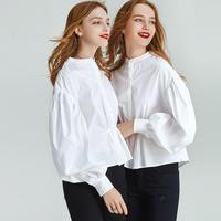 HAVVA early spring single breasted nipped waists puff sleeve shirt women fashion white pleated short shirt blouse C3848