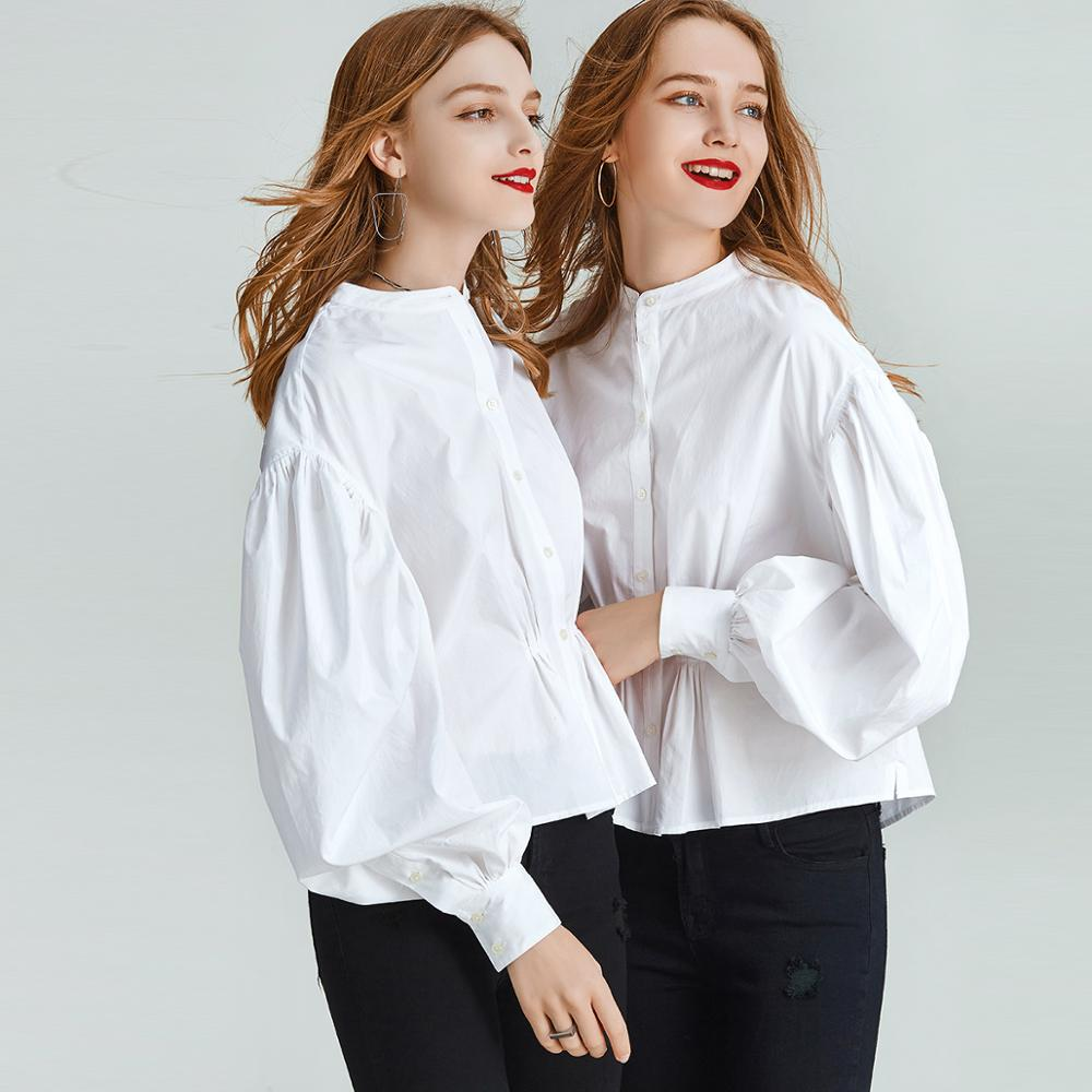 HAVVA early spring single-breasted nipped waists puff sleeve shirt women fashion white pleated short shirt blouse C3848