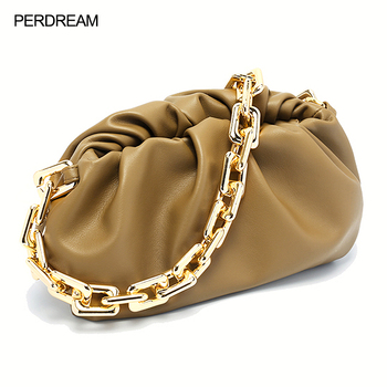 Leather handbags fashion European and American thick chain cloud bag 31CM leather pleated bag ladies shoulder bag