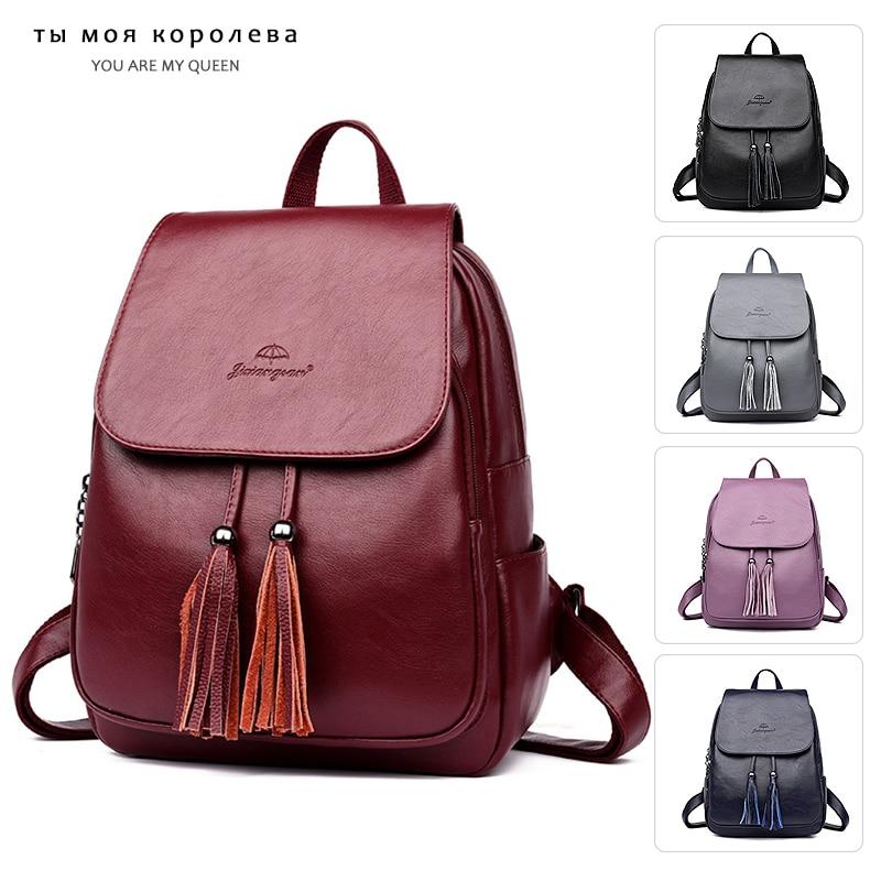 Fashion Women Tassels Backpacks Women PU Leather Backpacks Female School Purse Women Travel Shoulder Bags For Teenage Girls