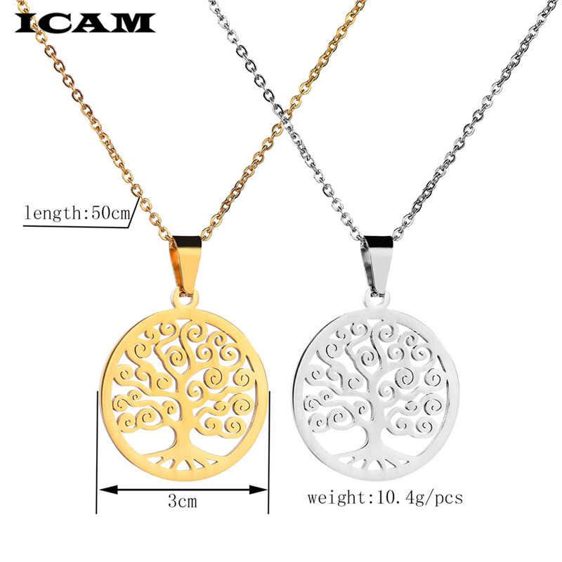 ICAM Tree of life Big จี้สร้อยคอผู้หญิงสีเงินยาวโซ่สร้อยคอแฟชั่นเครื่องประดับของขวัญ 2019 ใหม่