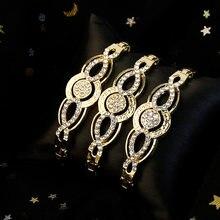 Sunspicems – ensemble de Bracelets en cristal fin pour femmes, couleur or, ethnique arabe, bijoux de mariage, manchette algérien, cadeau