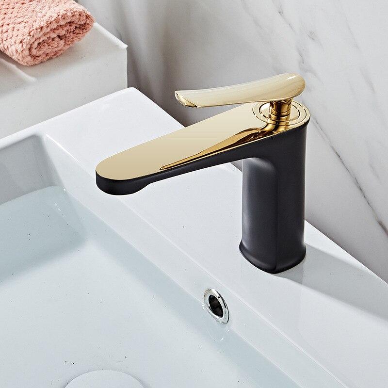Todo cobre Luz de lujo lavabo grifo caliente y frío Europeo lavabo negro oro pintura blanco oro grifo - 3