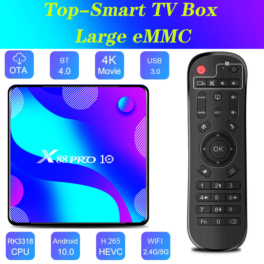 X88 pro10 Android 10,0 смарт-приставка для ТВ 4 Гб оперативной памяти 128 Гб ПЗУ RK3318 bt4.0 приставка для ТВ, duplo бруски, Wi-Fi, медиаплеера youtube 4k caixa Улучшенный