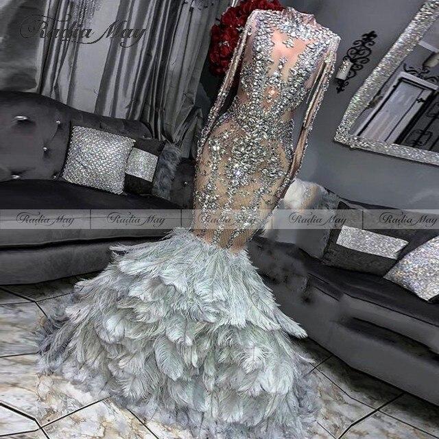 Błyszczący kryształ syrenka srebrne czarne dziewczyny Prom sukienka z rękawami pióro pociąg afrykańskie sukienki wizytowe sukienka Gala ukończenia szkoły