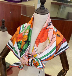 2020 new arrival spring autumn classic cartoon 100% pure silk scarf twill hand made roll 90*90 cm shawl wrap for women lady