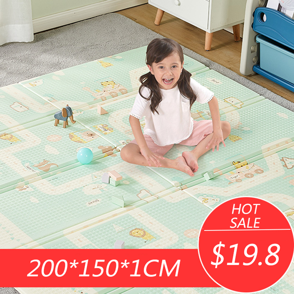 Baby Mat 200X150CMX1CM Thickness Cartoon XPE Kid Play Mat Foldable Anti-skid Carpet Children Game Mat