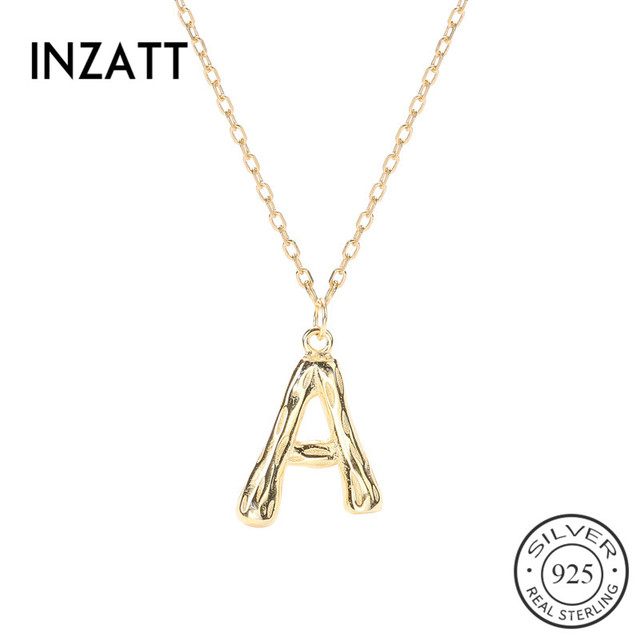 INZATT Real 925 Sterling Silver Letter A Choker Necklace For Fashion Women party  Cute Fine Jewelry Minimalist Accessories