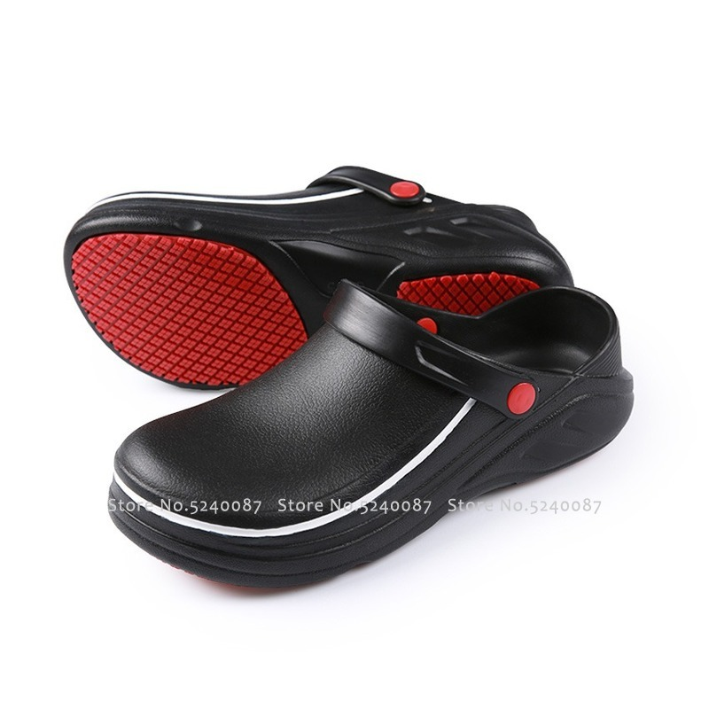 Man Restaurant Kitchen Chef Bare Foot Shoes Anti-slip Chef Master Cook Bakery Work EVA Slippers Waiter Soft Beach Water Sandals
