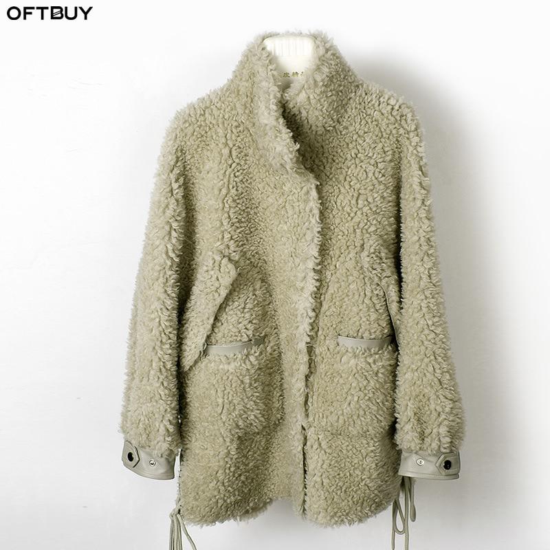 OFTBUY 2019 Winter Jacket Women Real Fur Coat 100% Wool Content Woven Loose Outerwear Teddy Polar Fleece Plush Streetwear Casual