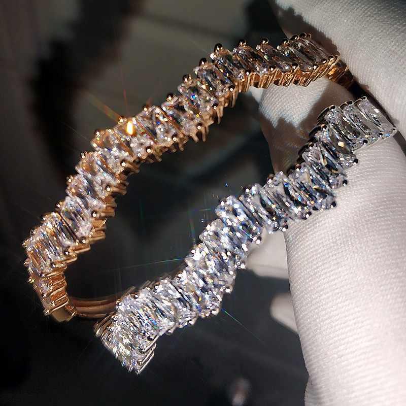 Сумочка Багет огранка лаборатория алмазный браслет Настоящее серебро 925 пробы вечерние браслеты для помолвки браслеты для женщин Свадебное очарование Bijou