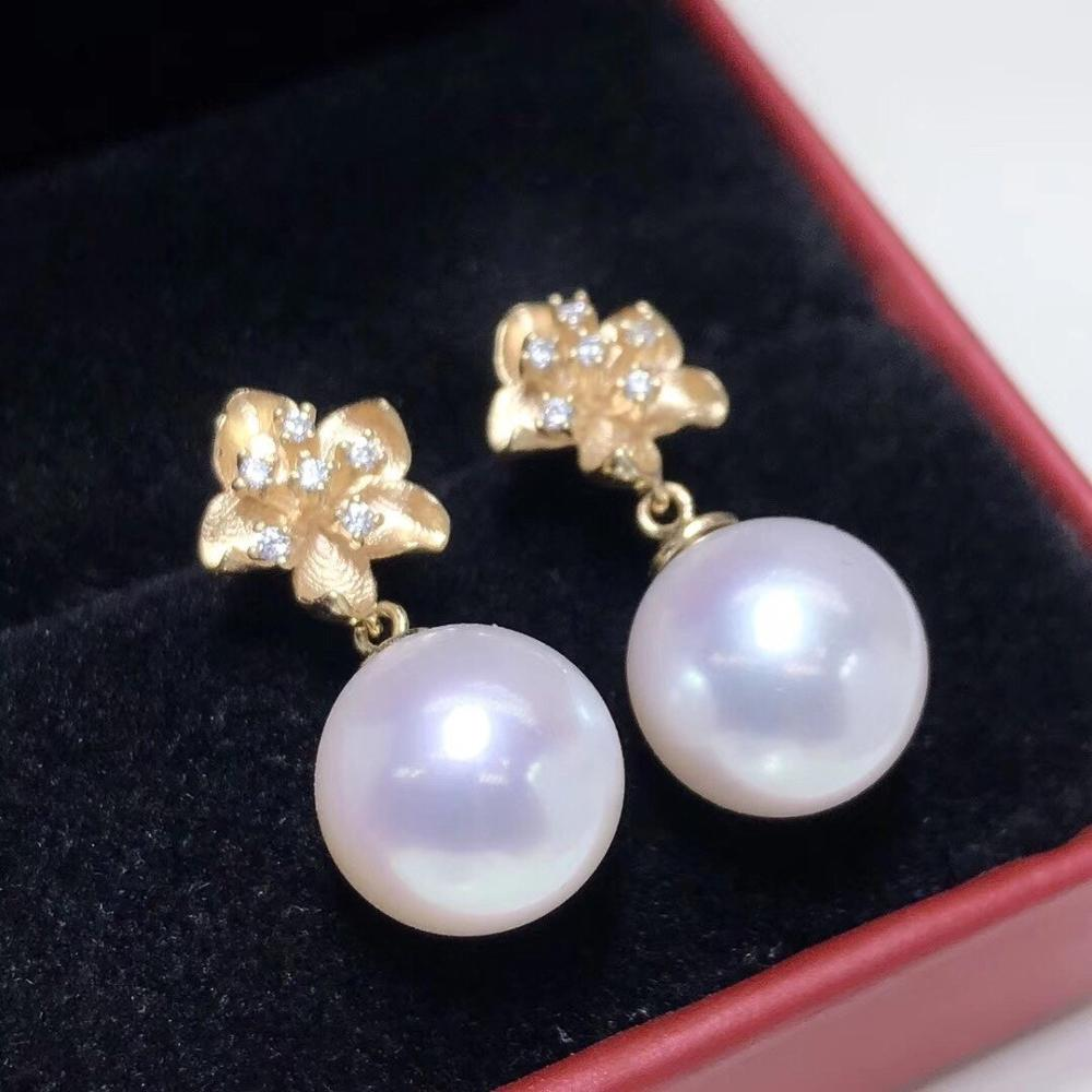 D203 bijoux fins pur 14K or naturel eau douce perles rose clair 11-10mm boucles d'oreilles pour femmes boucles d'oreilles perles fines
