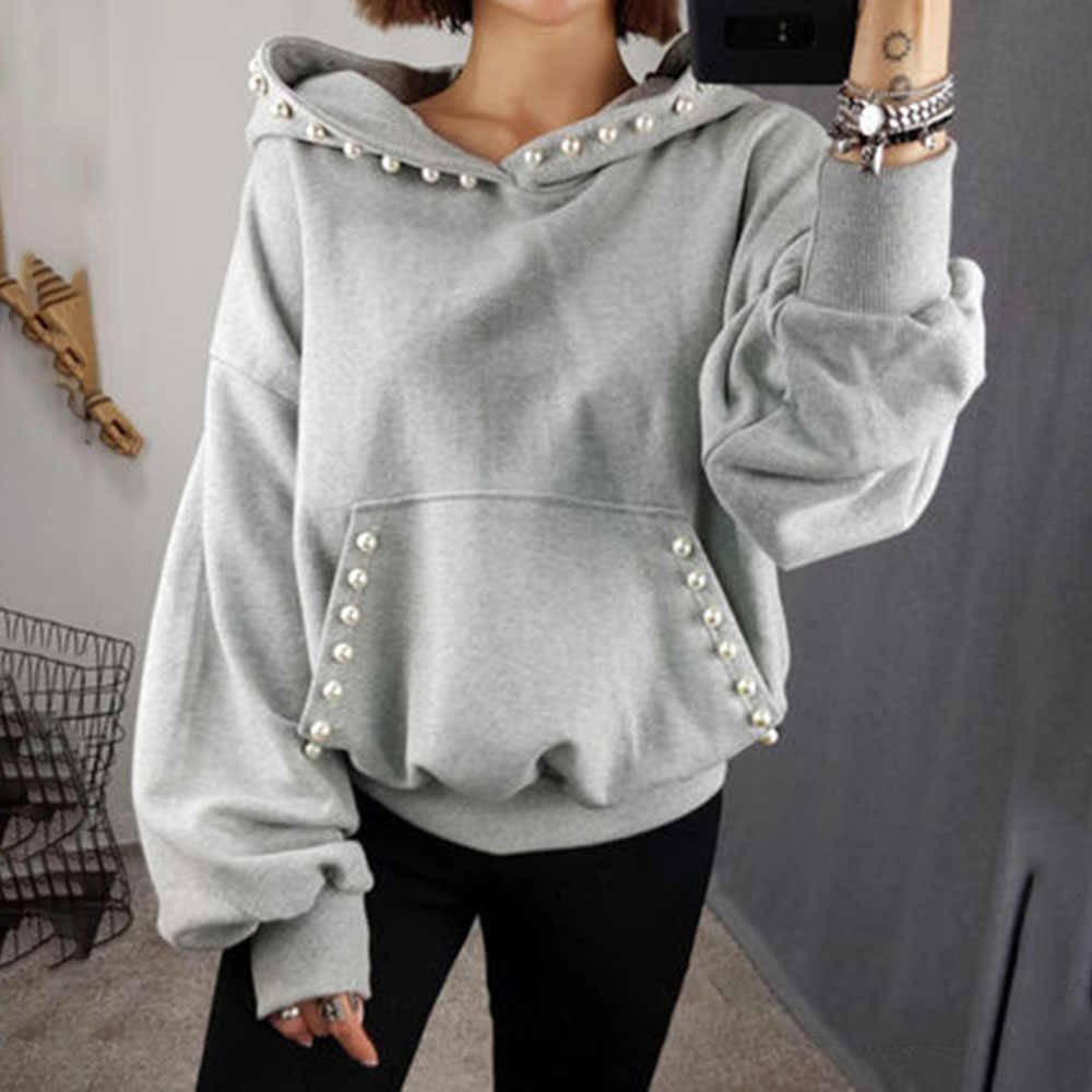 Женская однотонная толстовка с капюшоном, осень-весна 2020, офисный женский элегантный однотонный пуловер, украшенный бисером, пальто с капюшоном, Корейская Повседневная Верхняя одежда серого цвета