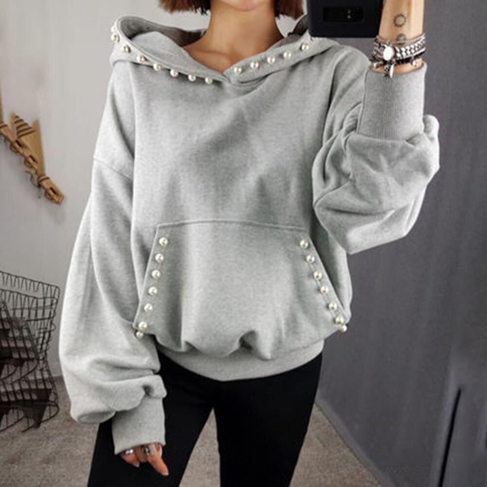 Women Solid Hoodie Autumn Spring 2020 Office Ladies Elegant Plain Beading Pullover Hooded Coat Korean Causal Tops Outwear Gray
