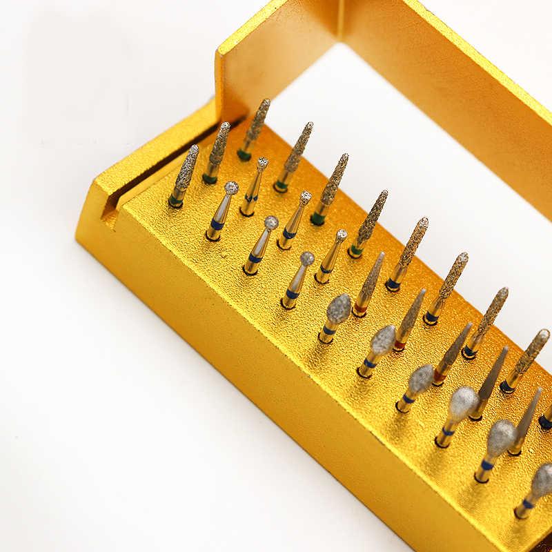 5 مجموعات أزيز ماس الأسنان الحفر ل قبضة يد بسرعة عالية حامل صندوق الألومنيوم طبيب الأسنان أدوات طب الأسنان مختبر ل تبييض الأسنان