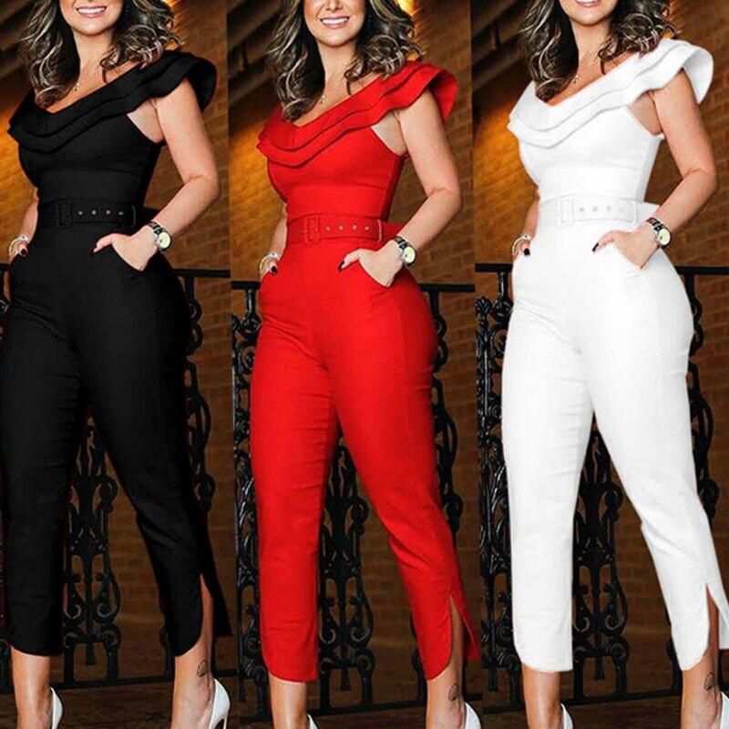 Clubwear Elegant Women Ruffles Neck High Waist Jumpsuit Playsuit Bandage Female Party Romper Long Trousers Clothes
