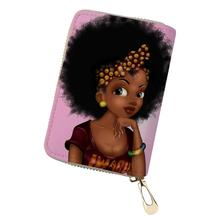 HaoYun Women PU Leather ID Card Cover Mini African Girls Prints Business Holder for Ladies Travel Wallet Case Coin Purse