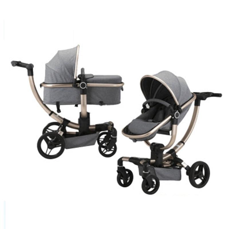 2019 new high view baby stroller 3 in 1 multi-function Newborn baby pram Luxury children pushchair