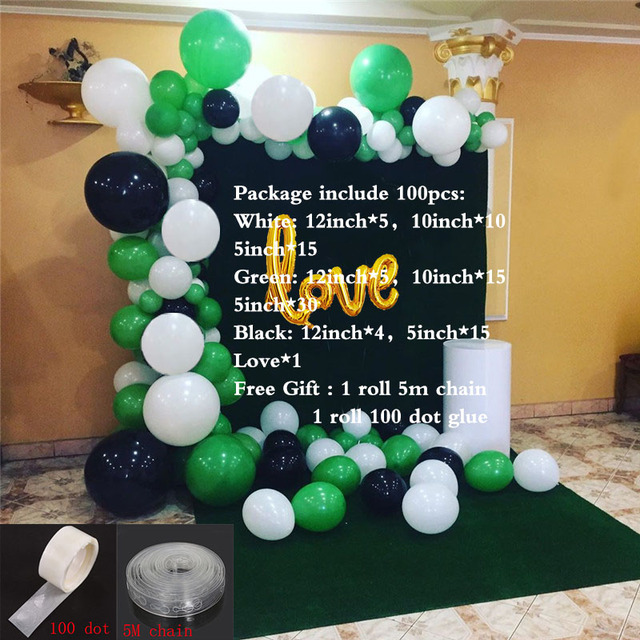 Pastel Green and Black Birthday Party Paper Garland