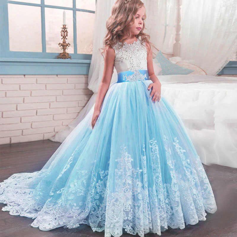 Длинное платье-пачка с бантом для девочек-подростков 4-14 лет, платье для выпускного бала, праздничные платья, вечернее платье принцессы с цветами для девочек, 2020