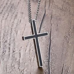 ZORCVENS классическая черная подвеска в виде Креста для ожерелья для женщин и мужчин из нержавеющей стали молитва распятие Мужская цепочка на ш...