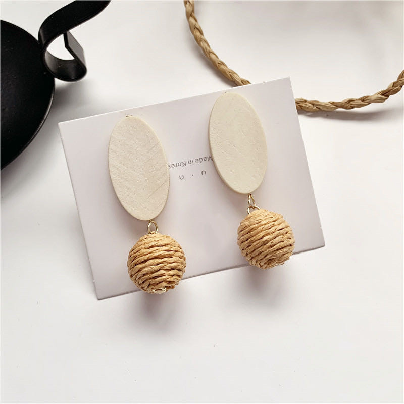 S925 silver needle Korea temperament simple wood hand-woven ball super fairy girl personality earrings