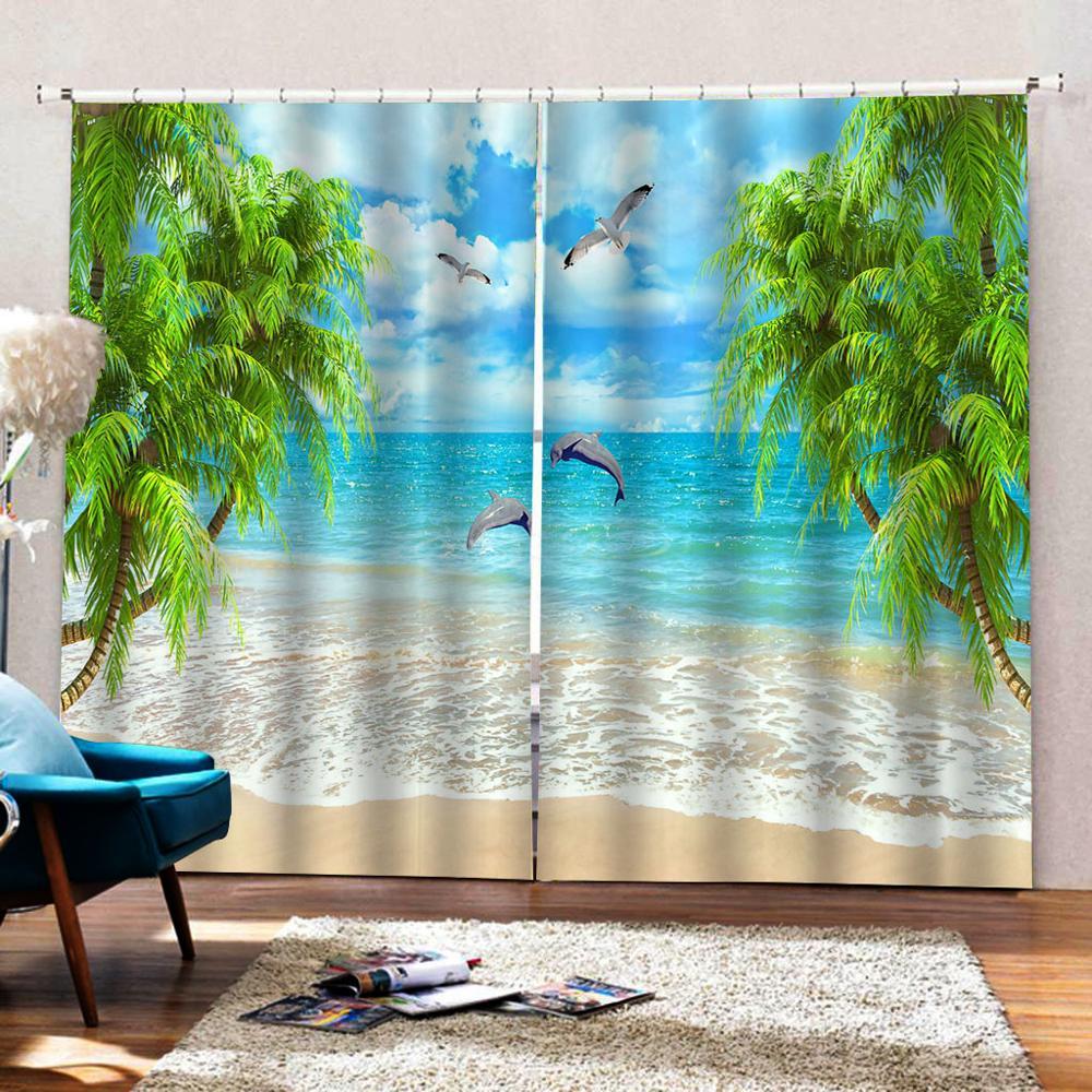Tende Per La Camera Da Letto Blackout Tende del Soggiorno paesaggio spiaggia di Spessore delfino albero Tende Moderno Tende Della Cucina - 3