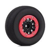 INJORA 4PCS RC Car Beadlock Rubber Tires Wheel Rim Set for 1/10 Short Course Truck Traxxas Slash 4x4 VKAR 10SC HPI 2