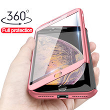 360 Full Cover Case untuk iPhone X 8 6 6 S 7 Plus 11 Pro Max Pelindung Phone Case untuk iphone 7 Plus X Max XR 5 5 S SE Case(China)