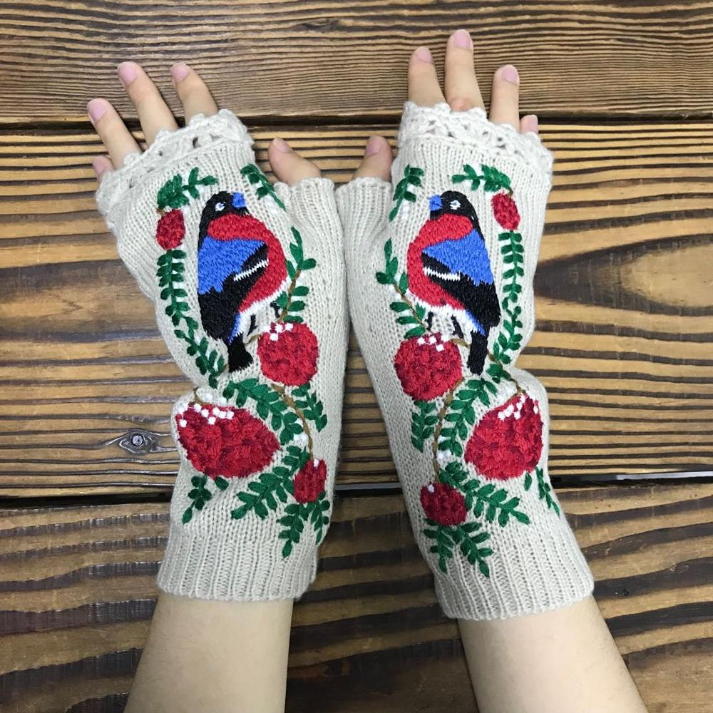 Fashion Women's Autumn Knitted Handmade Embroidery Gloves Embroidered Bird Flowers Mid Long Half Finger Warm Wool Winter Gloves
