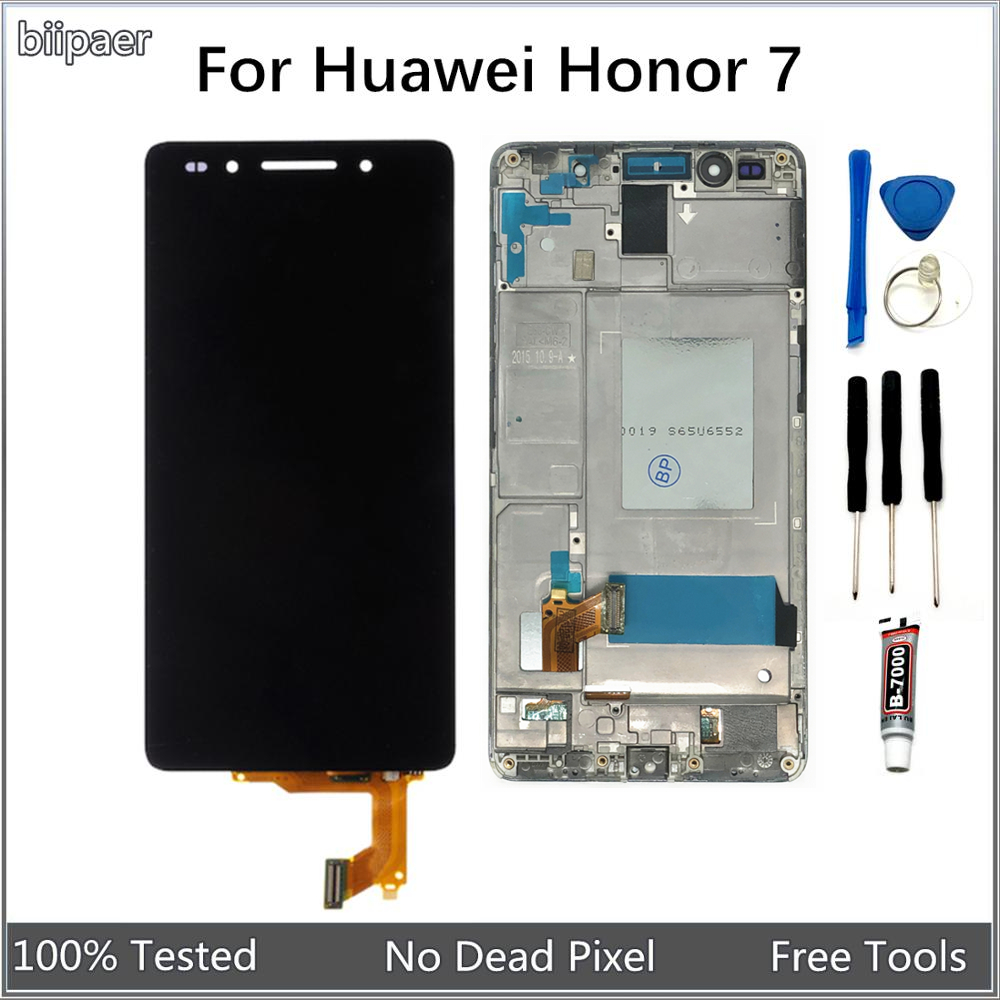 LCD For <font><b>Huawei</b></font> <font><b>Honor</b></font> <font><b>7</b></font> LCD <font><b>Display</b></font> Touch Screen Digitizer Assembly With <font><b>Frame</b></font> For <font><b>Huawei</b></font> Honor7 PLK-L01 PLK-AL10 PLK-UL00 image