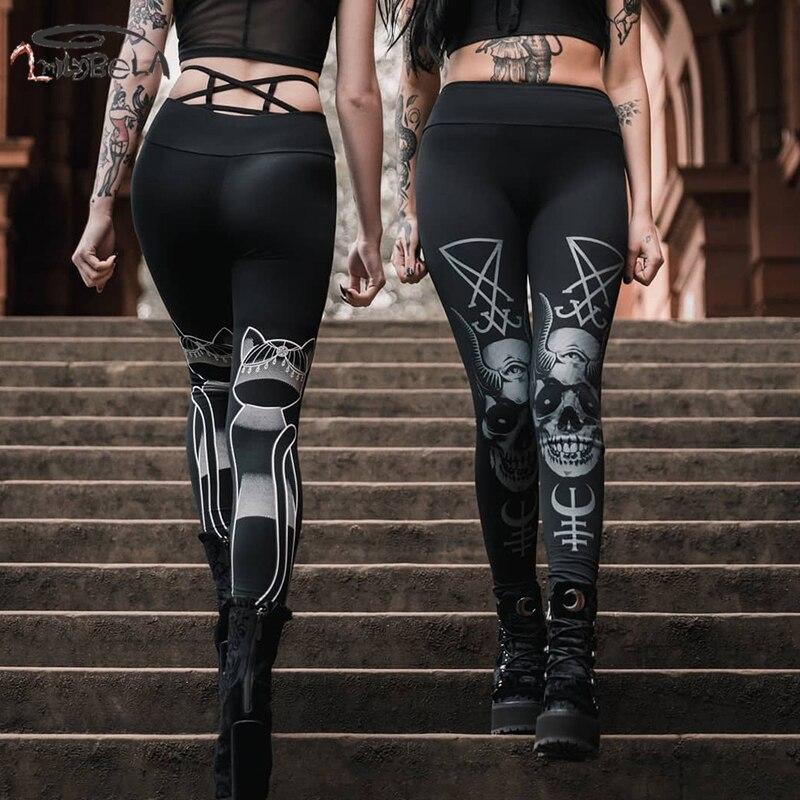 Imily Gothic Leggings Women Casual Print High Waist Full Length Skinny Legging Femme Elastic Black Leggins Mujer Autumn Winter