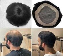 Парик BYMC со шнуровкой + прядями, мужской парик с естественным внешним видом, 100% человеческие волосы, замена Мужской системы t, мужской парик д...