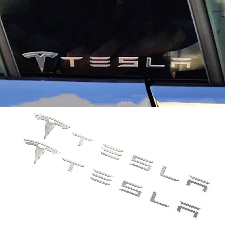 2pcs/set Car Door Column Pillar Logo Sticker Decoration Quarter Window Emblem Styling Accessories For Tesla Model S Model 3 X