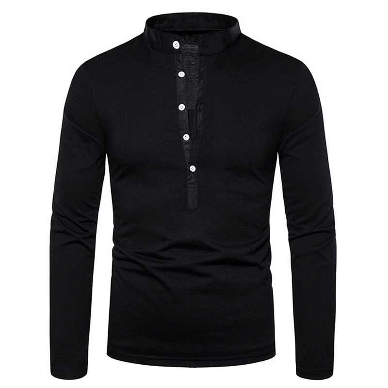 2019 Fashion Long Sleeve Polo Shirt Brands Plus Size Silm  Color Casual Collar Autumn Tops Blouse High Quality Tee Shirt Men