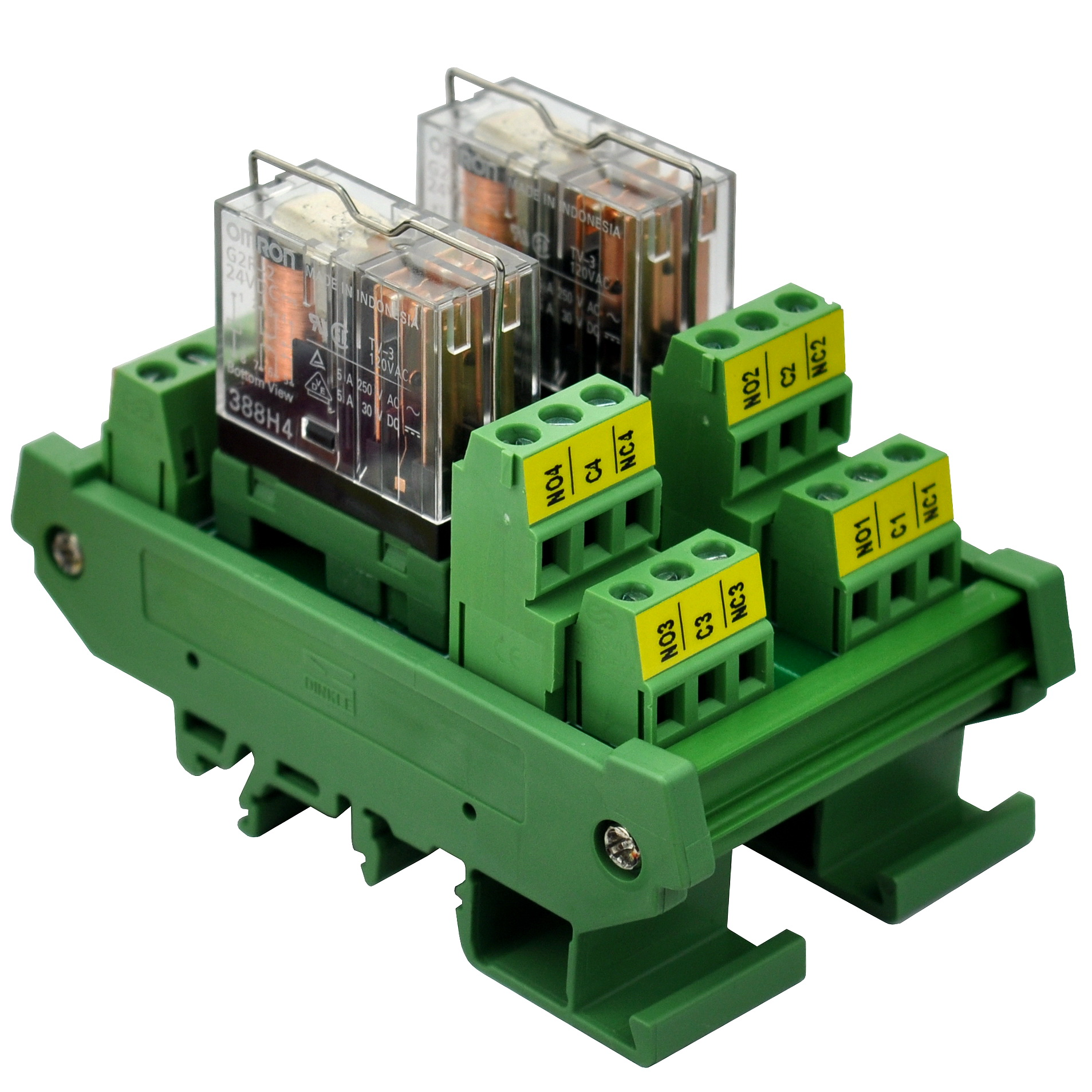 Электроника-салон DIN рейку крепление AC/DC 24V управления 2 DPDT 5Amp Подключаемый модуль интерфейса реле питания