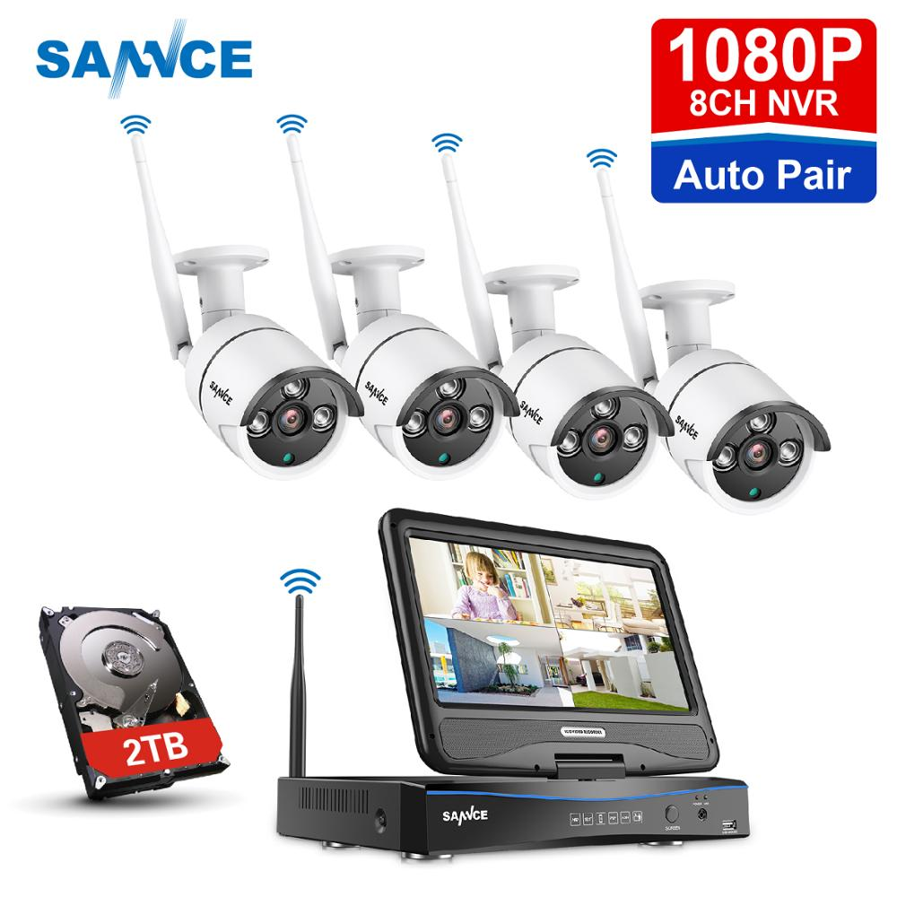 All in one Monitor Wireless Security Camera System 10.1/'/'LCD Home WIFI 8CH 1080P