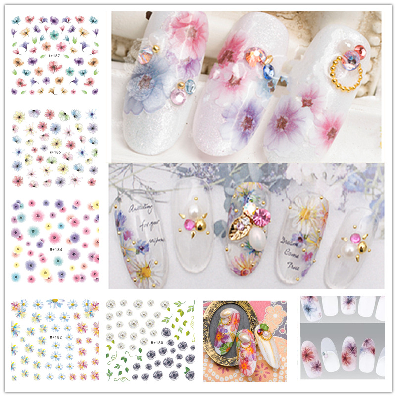 Daisy Phototherapy Nail Polish Watermark Flower Stickers Dandelion Flower Nail Ornament Adhesive Paper Smudge Flower