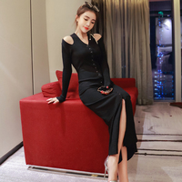 CINESSD The Sexy OL Knitted Warm Robe Dress 2019 Women Autumn Winter Black Long Sleeve V neck Maxi Dress Vestidos Plus Size