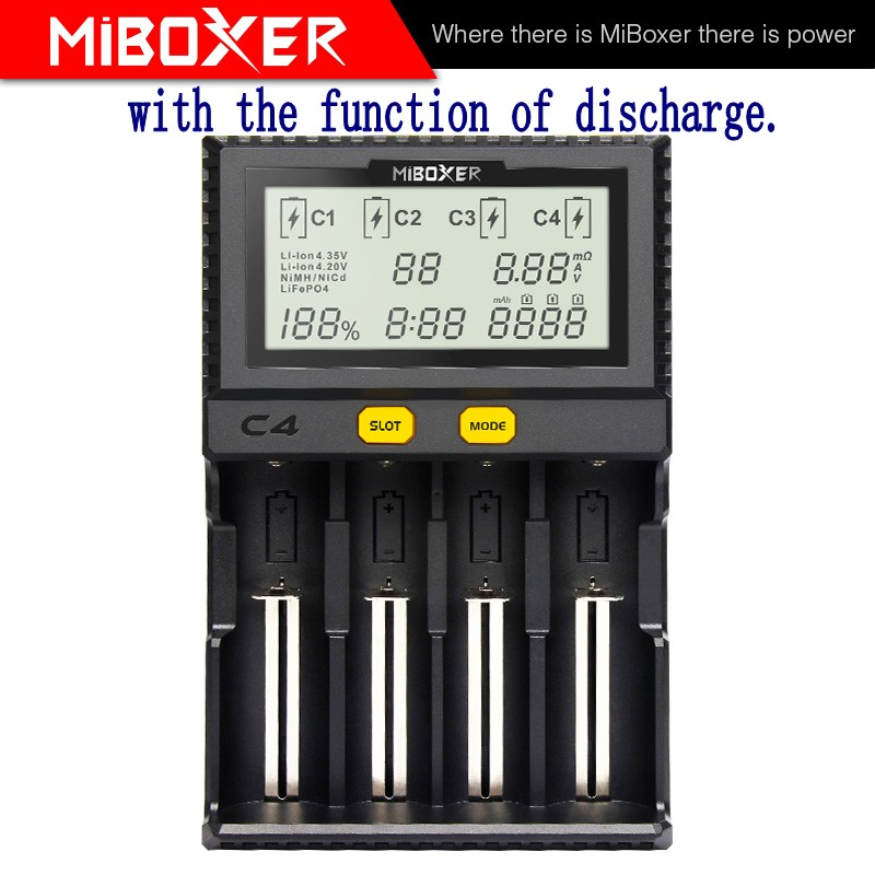 MiBoxer C4 зарядное устройство последняя версия V4 Четвертый слот может разрядиться, чтобы проверить истинную емкость батареи|Зарядные устройства|   | АлиЭкспресс