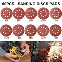 60 stücke 5 Inch 125mm Runde Schleifpapier Acht Loch Disk Sand Blätter Grit 40-400 Haken und Schleife schleifen Disc Polnischen